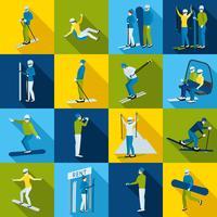 Collection d'icônes de station de ski avec des gens vecteur
