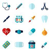Ensemble plat d'icônes médicales