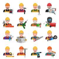 Ensemble d'icônes de travailleur