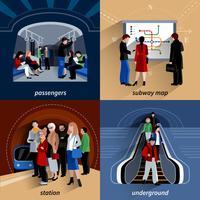 Subway 4 icônes carrées composition plate