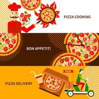 Jeu de bannières horizontales plat livraison pizza