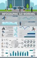 Infographie Allez les gens qui travaillent vecteur