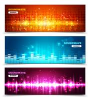 Égaliseur ondes sonores affichent ensemble de bannières vecteur