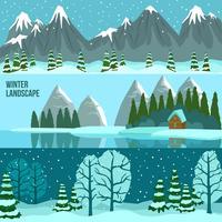 Bannières panoramiques de paysage d'hiver vecteur