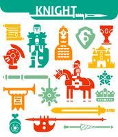 Ensemble d'icônes monochromes chevalier vecteur