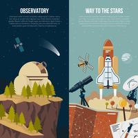 Astronomie Bannières Verticales vecteur