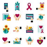 Ensemble d'icônes plat de charité don vecteur