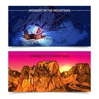 Bannières montagnes minuit et le lever du soleil vecteur