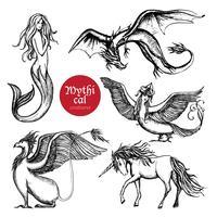 Ensemble de croquis dessinés à la main de créatures mythiques vecteur