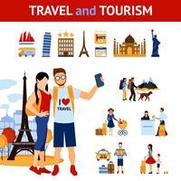 Ensemble d'éléments de voyage et de tourisme