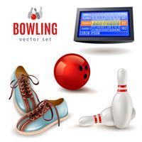 Bowling Icons Set vecteur