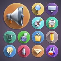 Marketing numérique plat rond icônes définies vecteur