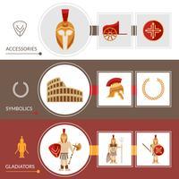 ensemble de bannière de gladiateur vecteur