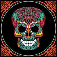 Crâne avec motif coloré vecteur