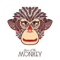 Visage de couleur de singe vecteur