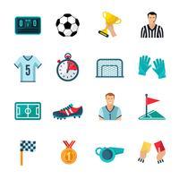 jeu d'icônes de football vecteur