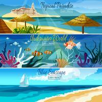 Ensemble de bannière de paysage marin vecteur