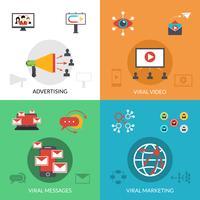 Marketing viral 4 icônes plat carré vecteur