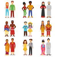 Ensemble d'icônes de couples nationaux vecteur