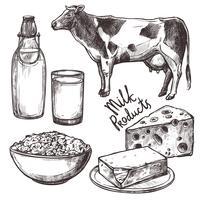 Ensemble de produits laitiers Sketch vecteur