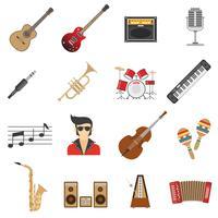 Icônes de la musique à plat vecteur