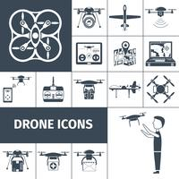icônes de drone noir vecteur