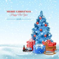 Arbre de Noël avec des coffrets cadeaux vecteur