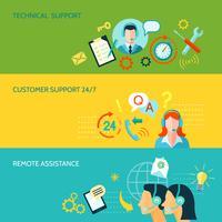 Assistance à la clientèle et assistance technique Bannières horizontales vecteur