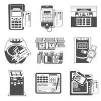 Méthodes de paiement noir jeu d'icônes