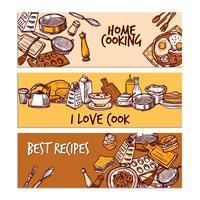 Jeu de bannière de couleur de croquis de cuisson