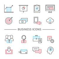 Ligne d'affaires Icons Set vecteur