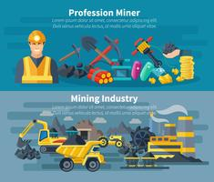 Ensemble de bannières minières vecteur