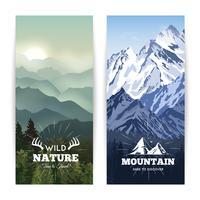 Bannières de montagnes verticales vecteur