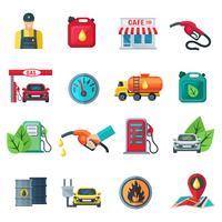 Station d'essence couleur icônes définies