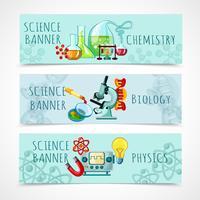 ensemble de bannière de science vecteur