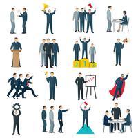 Leadership plat icônes de couleur vecteur