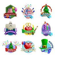 Collection d'emblèmes de célébrations vecteur