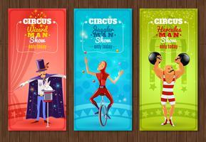 Ensemble de bannières plat spectacle de cirque itinérant