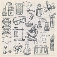 Icône de la chimie dans le style Doodle vecteur