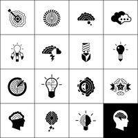 icônes de brainstorming noir