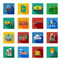 Ensemble plat d'icônes de l'industrie pétrolière