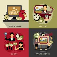 Auction Concept Icons Set