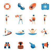 Sauveteur Icons Set vecteur