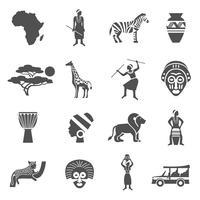 Afrique noir blanc Icons Set vecteur