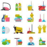 Jeu d'icônes de nettoyage vecteur