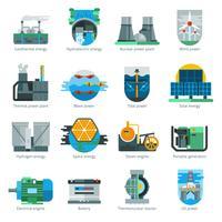 Icônes de production d'énergie vecteur