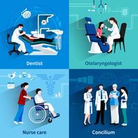 Spécialistes médicaux 4 icônes plat carré vecteur