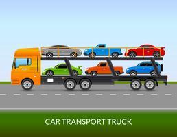 Illustration de camion de transport de voiture vecteur