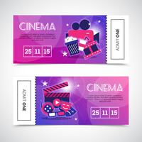 Bannières horizontales de cinéma sous forme de billet vecteur