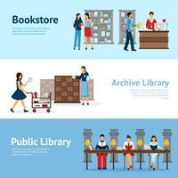 Ensemble de bannières horizontales de la bibliothèque vecteur